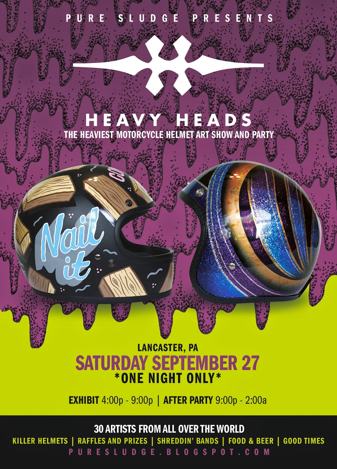 heavy, heads, helmet, show, 2014, motorcycle, harley, davidson, triumph, kawasaki, honda, norton, indian, ornamental, conifer, ryzart, phil guy, pure sludge, lancaster, chin, tank ONE NIGHT ONLY! Don't miss out! September 27, 2014 from 4:00 PM to 2:00 AM Location: 1081 North Plum St. Lancaster, PA 17601  For anyone who hasn't heard, there's a big deal going on in Lancaster two weekends from now. The dudes over at Pure Sludge have teamed up with Biltwell and a cast of international artists to put on the sickest helmet show east of the Mississippi. We've all drooled over the artwork on the covers of Dice and Show Class and now is the chance to meet some of these great artists—And buy their work—And wear it on your dome while you blast around on your motorcycle!  $5 entry to the art show (FREE if you ride yer motorbike!) gets you a raffle ticket and wrist band to drink. We'll have free beer inside while supplies last. So many raffle prizes and amazing helmets to look at.  After party (21+) is right across the street at American Bar & Grill from 9:00p - 2:00a.  If anyone wants to ride out with me: Lets meet at Atlantis Lost Bar on Frankford Avenue at 1:30pm Saturday the 27th. Come gassed with a bag of grass. I'm camping out for the night.  featured artists:  Ornamental Conifer Ornamental Conifer Ornamental Conifer Ornamental Conifer CA_TONUP ADI GILBERT aka Uncle Twisty Uncle Twisty Phil Guy Phil Guy Phil Guy Phil Guy Maxwell Paternoster Maxwell Paternoster Maxwell Paternoster Maxwell Paternoster