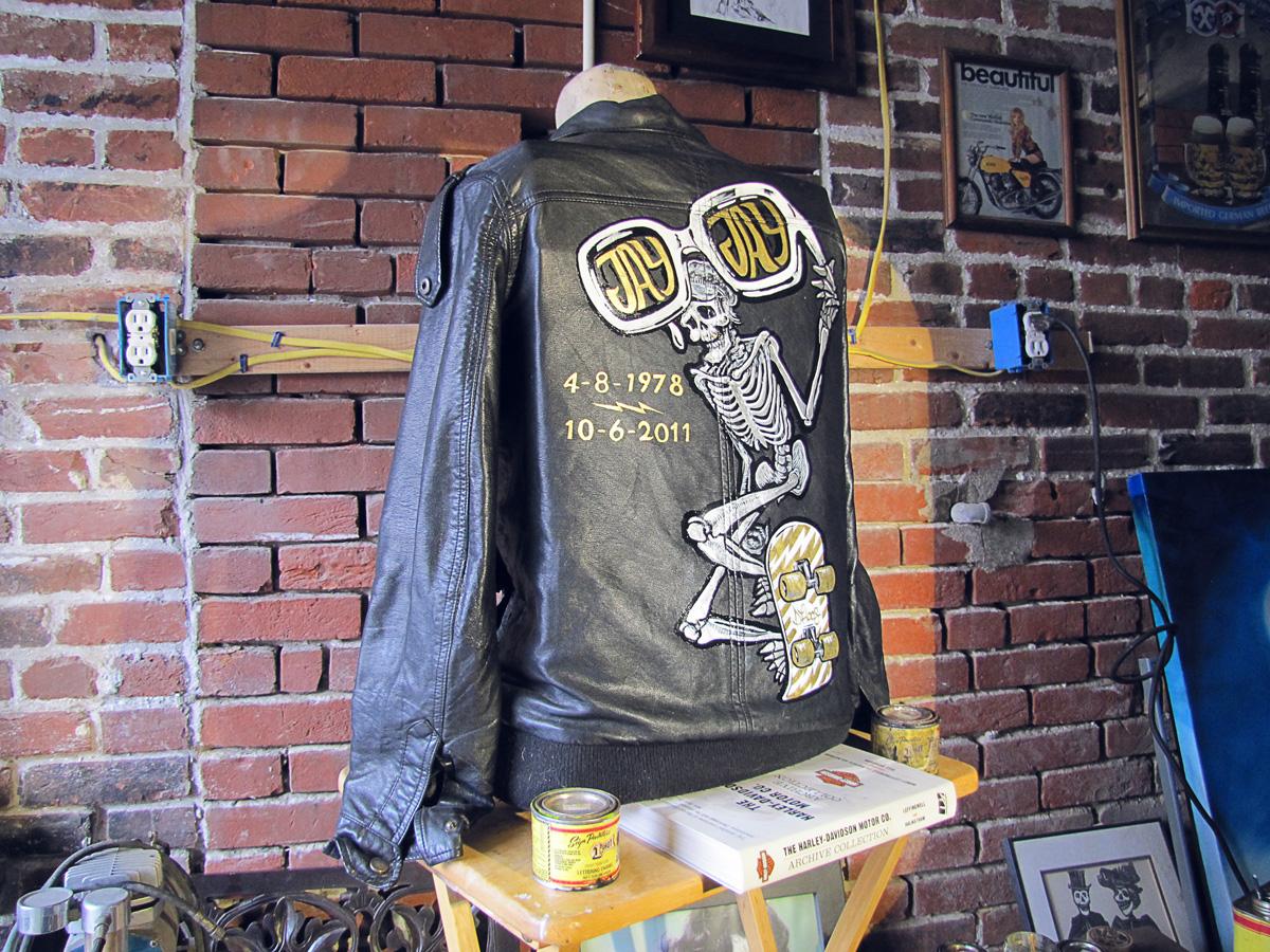 handpainted, leather, motorcycle, jacket, riverroad, skateboard, skeleton, nowhere fast, nowhere, fast, nowherefastco, harley, davidson, triumph, xs650, shovelhead, sportster, bonneville, pinhead, electraglide, doubled, dyna, oneshot, one, shot, paint, kafka, brushes