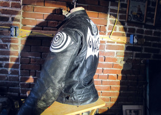 handpainted, leather, motorcycle, jacket, riverroad, skateboard, skeleton, nowhere fast, nowhere, fast, nowherefastco, harley, davidson, triumph, xs650, shovelhead, sportster, bonneville, pinhead, electraglide, doubled, dyna, oneshot, one, shot, paint, kafka, brushes