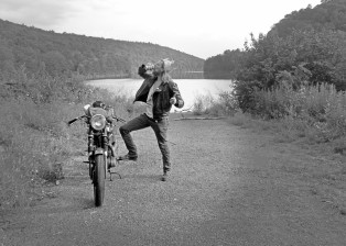nowhere, fast, triumph, motorcycle, leather, jacket, painted, devyn, haas, pennsylvania
